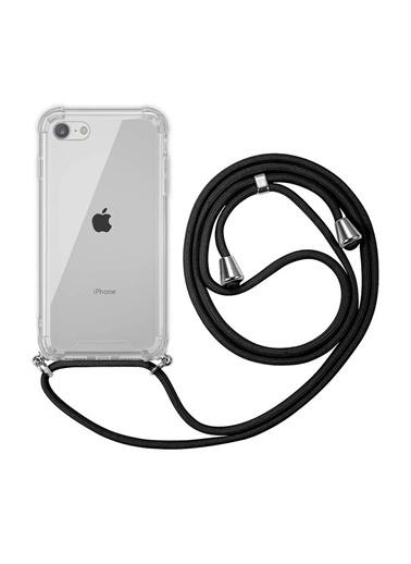Microsonic Apple İphone Se 2020 Kılıf Neck Lanyard Lila Siyah